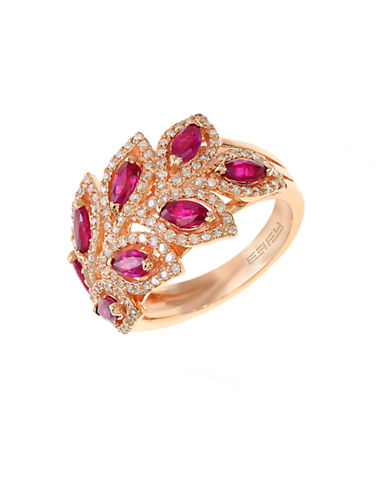 EFFY Diamond And Ruby 14K Rose Gold Ring, 0.56 TCW