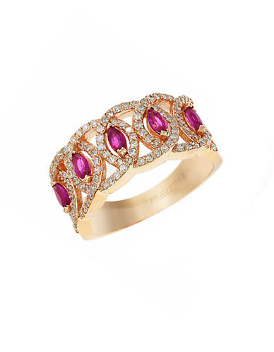 EFFY Diamond And Ruby 14K Rose Gold Ring, 0.53 TCW
