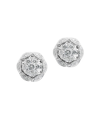 EFFY 14K White Gold and Diamond Flower Earrings