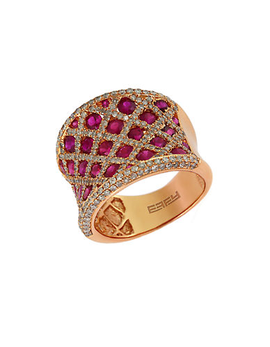 EFFY Diamond And Ruby 14K Rose Gold RIng, 1.19 TCW