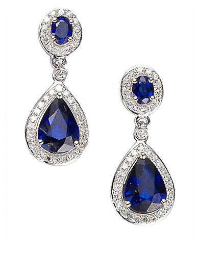 EFFYVelvet Bleu 14 Kt. White Gold Ceylon Sapphire and Diamond Earrings .31 CTW