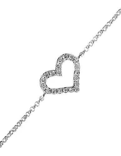 EFFYPave Classica 14Kt White Gold Diamond Heart Bracelet