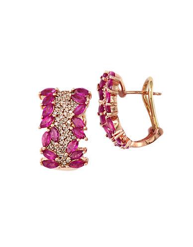 EFFYDiamond And Ruby 14K Rose Gold Hoop Earrings, 0.55 TCW