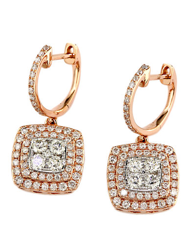 EFFY Diamond And 14K Rose And White Gold Drop Earrings, 1.29 TCW