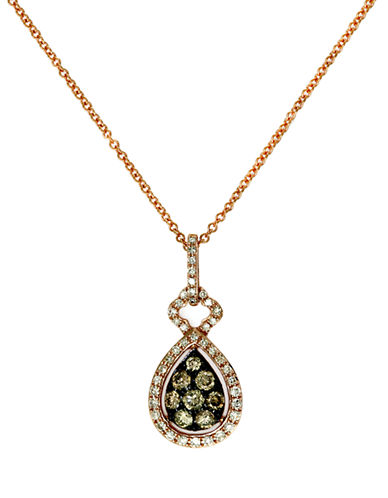 EFFY 14Kt. Rose Gold Brown and White Diamond Teardrop Pendant Necklace