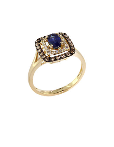 EFFYRoyale Bleu 14Kt. Yellow Gold Sapphire Ring with Brown and White Diamonds