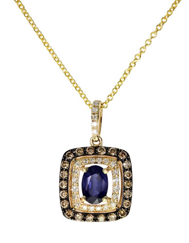 EFFY Royalé Bleu Yellow Gold Sapphire Pendant with Brown and White Diamonds