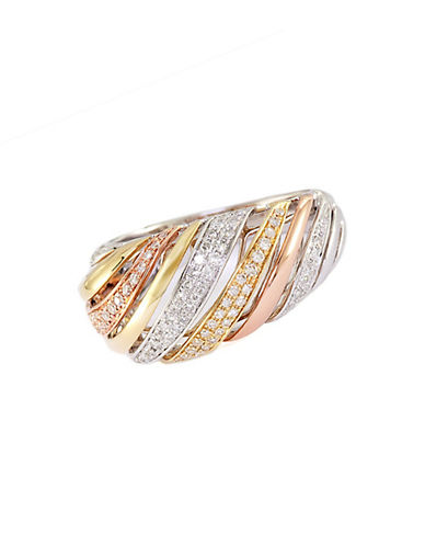 EFFY Trio 14 Kt White Yellow and Rose Gold Striped Diamond Ring