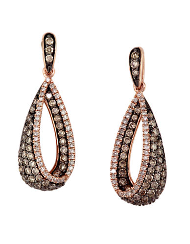 EFFY Espresso 14Kt. Rose Gold Brown and White Diamond Drop Earrings