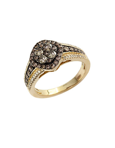 EFFY Brown and White Diamond And 14K Yellow Gold Ring