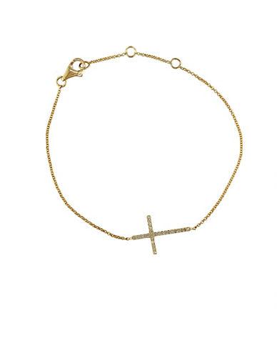 EFFYDOro 14Kt. Yellow Gold and Diamond Side Ways Cross Bracelet