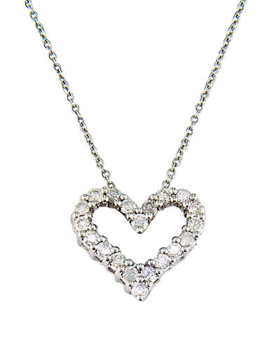 EFFY Classique 14 Kt White Gold Diamond Heart Pendant Necklace