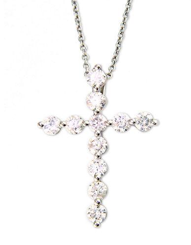 EFFYClassique 14 Kt White Gold Diamond Cross Pendant Necklace