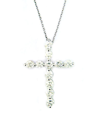 EFFY Diamond And 14K White Gold Cross Pendant Necklace, 1 TCW