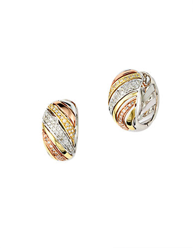 EFFY Trio 14Kt White Yellow and Rose Gold 0.39 ct t w Diamond Hoop Earrings