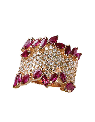 EFFY Diamond And Ruby 14K Rose Gold Ring, 1.41 TCW