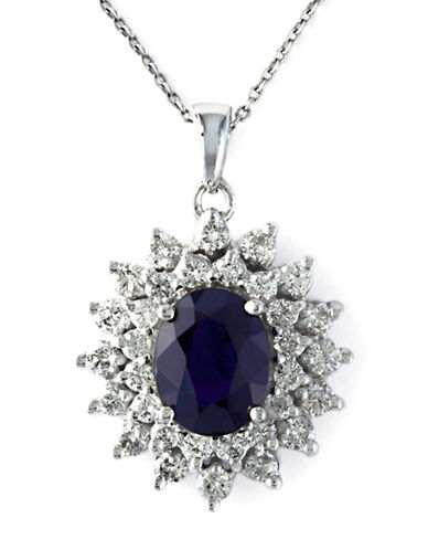 EFFY Royalty 14 Kt. White Gold Sapphire and Diamond Pendant, 1.02 CT. T.W.