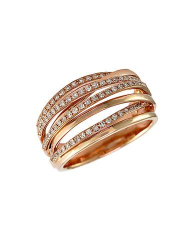 EFFYPave Rose 14 Kt. Rose Gold Diamond Crossover Ring