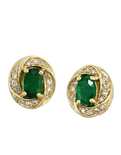 14 Kt. Yellow Gold Emerald & Diamond Earrings