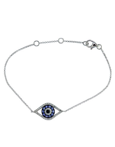 EFFY Ruby Royale 14 Kt. White Gold and Sapphire Evil Eye Tennis Bracelet with Diamond Accents