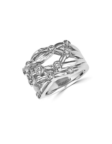 EFFY Diamond and 14K White Gold Crisscross Ring, 0.53TCW