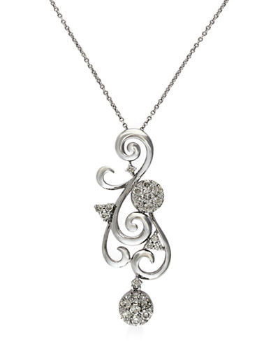 EFFY Bouquet 14Kt. White Gold and Diamond Scroll Pendant Necklace