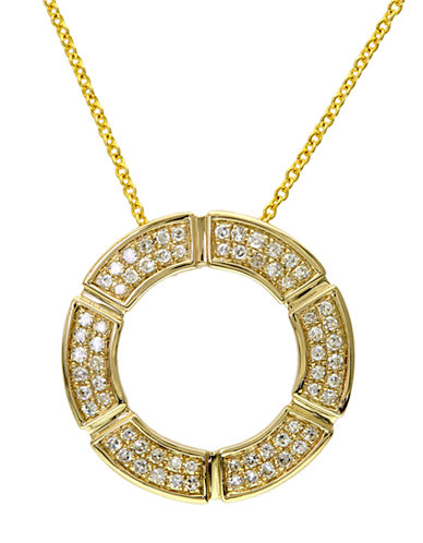 EFFY D Oro 14 Kt Yellow Gold Diamond Open Circle Pendant Necklace