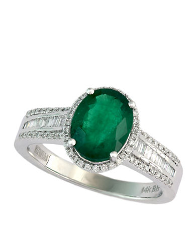 EFFYBrasilica 14 Kt White Gold and Emerald Ring with Diamond Accents