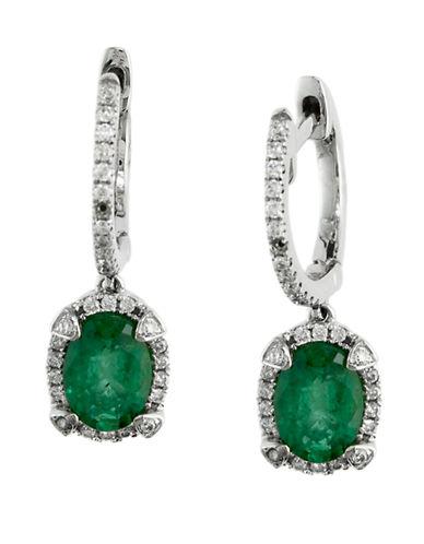 EFFYBrasilica 14Kt. White Gold Emerald and Diamond J Hoop Earrings