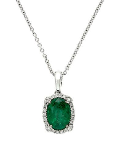EFFYBrasilica 14K White Gold Emerald and Diamond Pendant Necklace