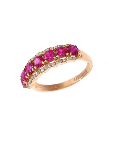 EFFY 14K Rose Gold Natural Ruby and Diamond Ring