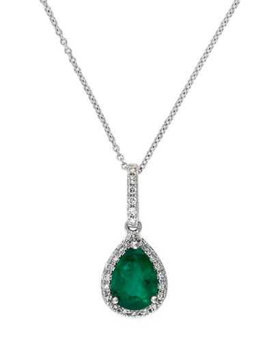 EFFY Brasilica 14Kt. White Gold Emerald and Diamond Pendant Necklace