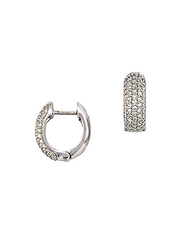 EFFY Trio 14 Kt White Gold 0.53 ct t w Diamond Pave Hoop Earrings