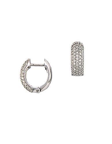EFFYTrio 14 Kt White Gold 0.53 ct t w Diamond Pave Hoop Earrings
