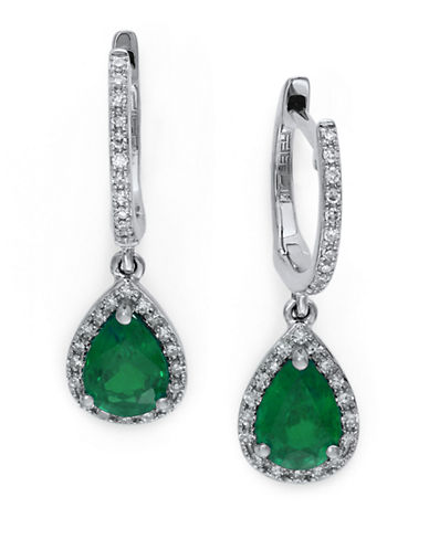 EFFY 14Kt. White Gold Emerald and Diamond Drop Earrings