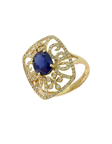EFFYRoyale Bleu 14Kt. Yellow Gold Sapphire and Diamond Ring