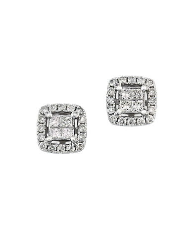 EFFY Bouquet 14Kt White Gold and 0.52 ct t w Diamond Square Earrings