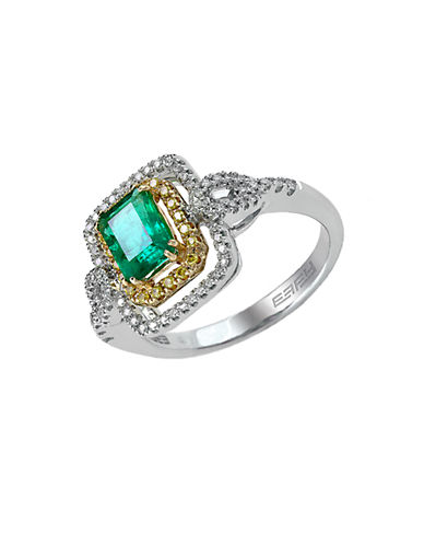 EFFYBrasilica 14Kt. Yellow and White Gold Emerald Diamond Ring
