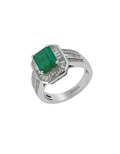EFFYBrasilica 14Kt. White Gold Emerald and Diamond Ring