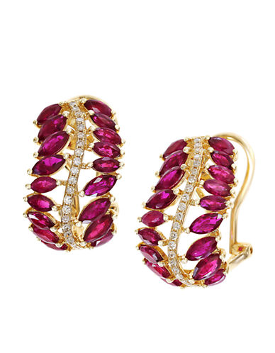EFFY Diamond And Ruby 14K Yellow Gold Earrings
