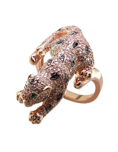 EFFYSignature White and Black Diamond Panther Ring in 14 Kt. Rose Gold
