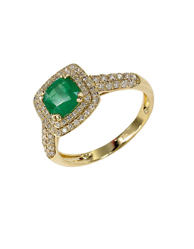 EFFY Emerald Envy 14K Yellow Gold Emerald and Diamond Ring