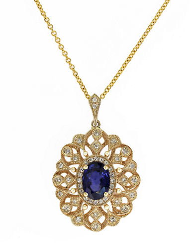 EFFY 14Kt. Yellow Gold Sapphire and Diamond Pendant Necklace