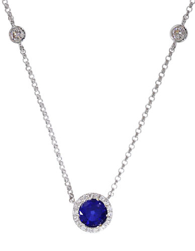 EFFY 14Kt White Gold Sapphire and Diamond Station Necklace