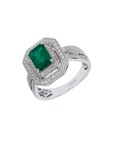 EFFYEmerald Diamond 14K White Gold Ring