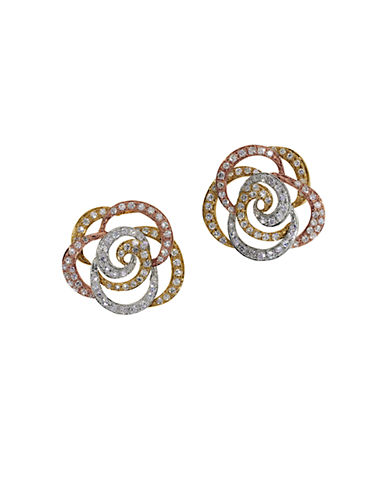 EFFY 14K White Yellow and Rose Gold Diamond Flower Earrings