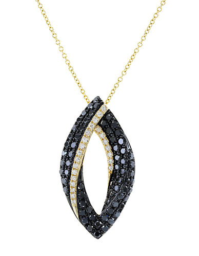 EFFY Caviar 14K Yellow Gold Black Diamond Pendant Necklace