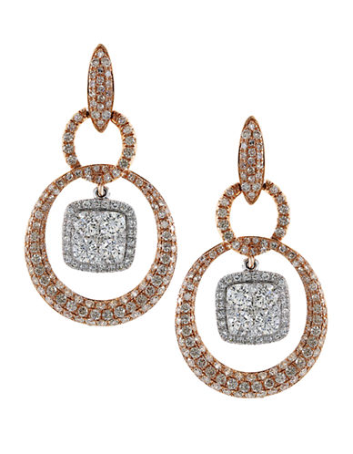 EFFY 14K Rose and White Gold Diamond Pave Earrings