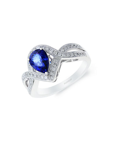 EFFY 14K White Gold Crossing Ring with Sapphire and Diamonds