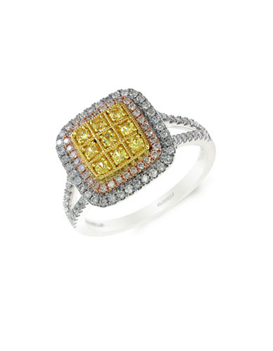 EFFY14K White Yellow and Rose Gold Diamond and Sapphire Ring